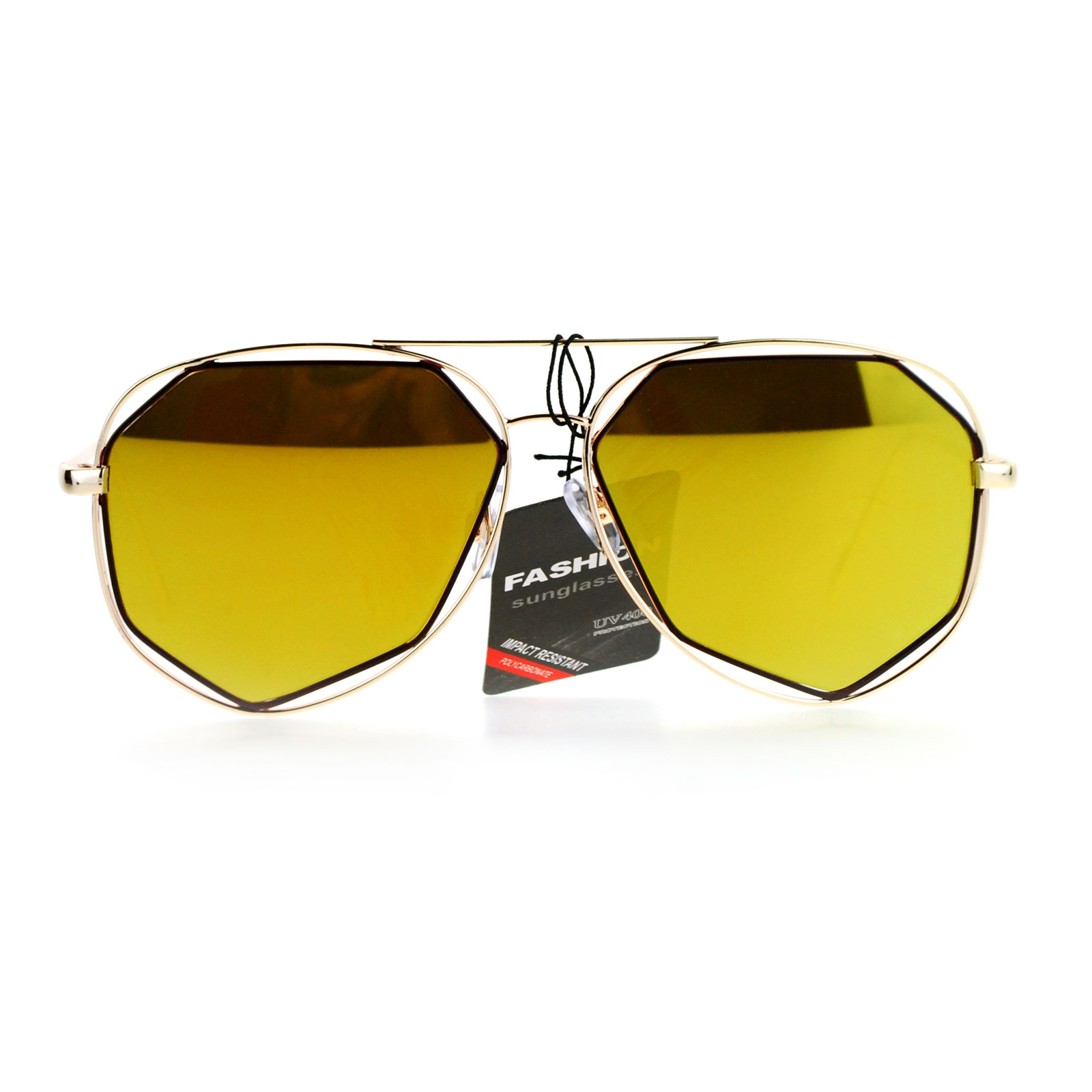 f4cb3f5aa02 SA106 - SA106 Mirror Double Octagon Metal Rim Mens Aviator Sunglasses Gold  Brown Orange - Walmart.com