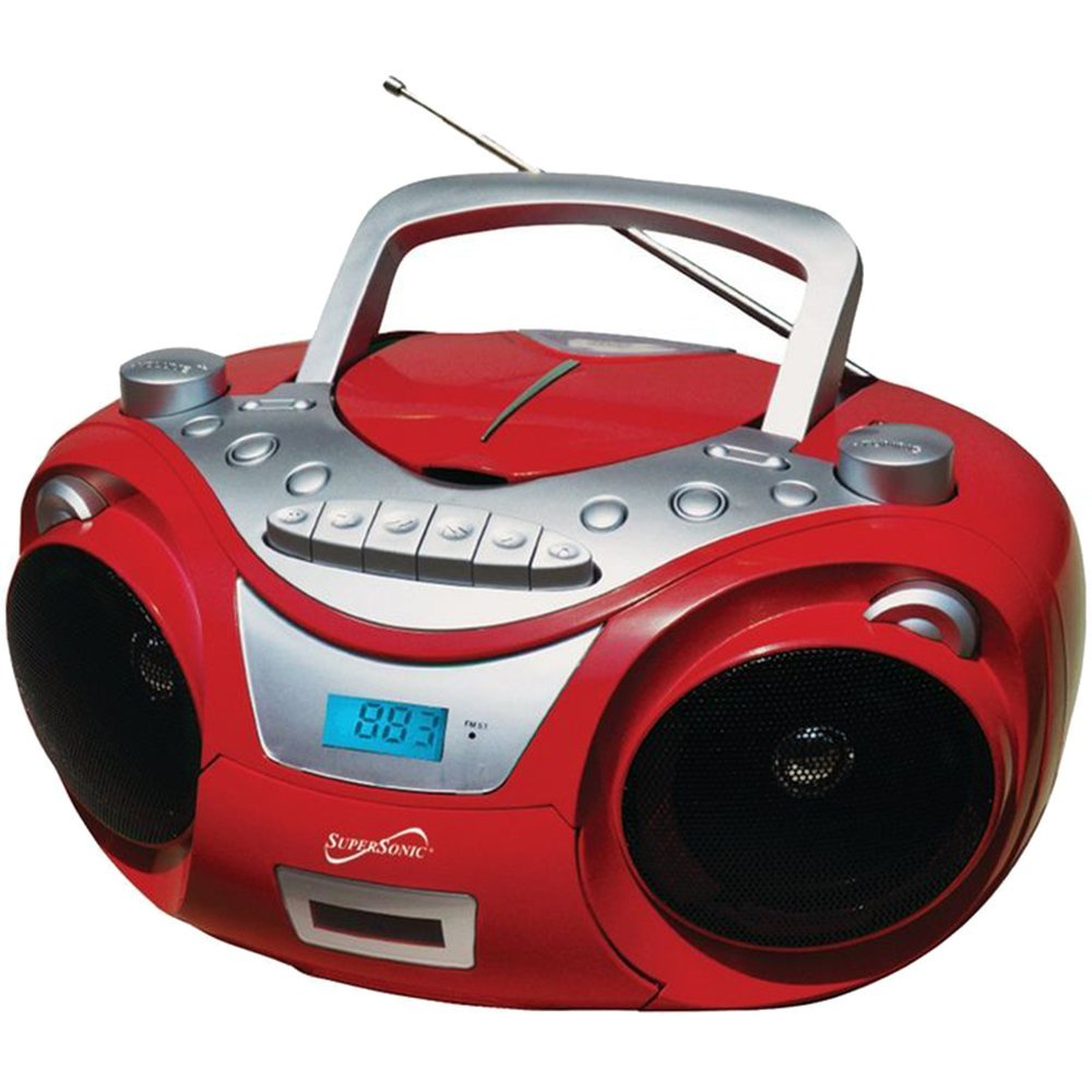 SC-709 RED Portable MP3 & Cd Player with Cassette Recorder & Am FM Radio, SC709 Cd A electronics SILVER AmFM... by Supersonic