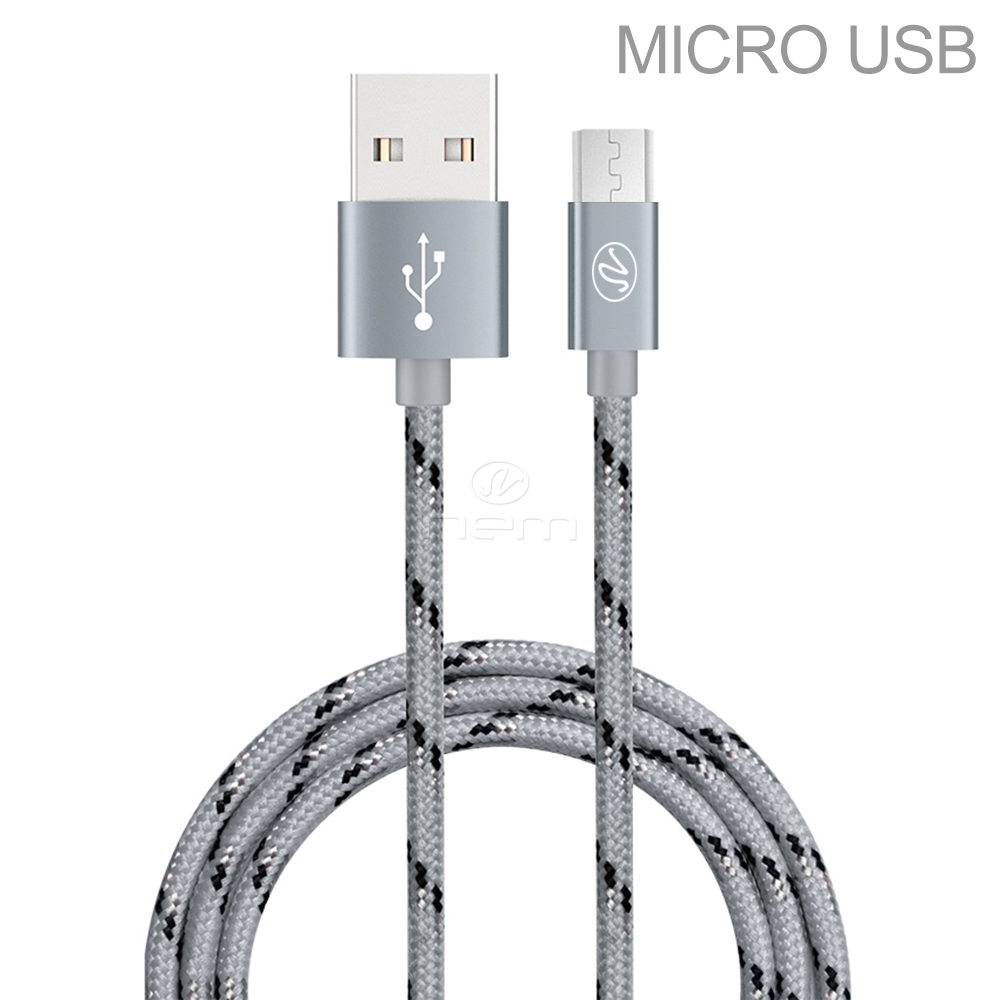 AT&T LG TRUE / 450 / B470   Premium High Quality 10 Feet Braided GRAY Fast Micro USB Data Sync + Charging Cable