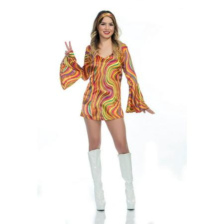 Halloween Rainbow Lights Disco Diva Adult Costume - Devilish Diva Halloween Fancy Dress Costume