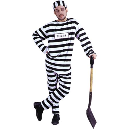 Morris Costumes Adult Mens Cops & Convicts Costume Black White One Size, Style AC31
