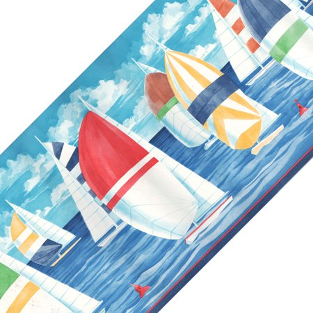 Blue Mountain Wallcoverings 12440673 Colorful Sailboats Prepasted Wall Border Roll