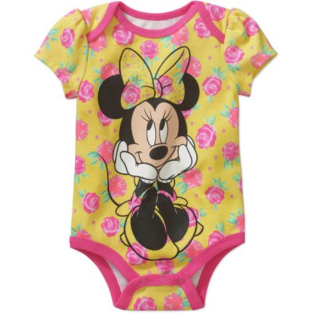 Minnie Mouse Newborn Baby Girls' Floral Bodysuit