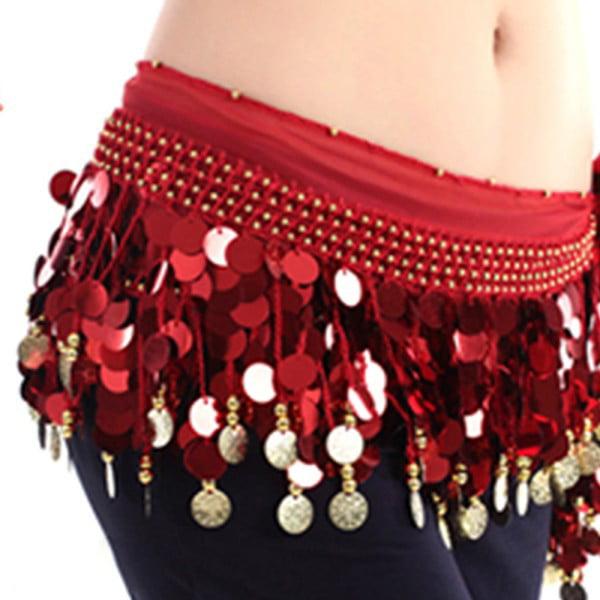6 PCs Solid Sequins Coins Belly Dance Scarf Belt Hip Skirt Wrap Chiffon