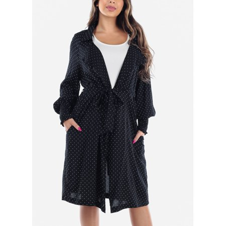 Womens Juniors Casual Summer Lightweight Long Sleeve Black Polka Dot Belted Long Blazer Coat For Travel Office New Trend 2019 Jacket