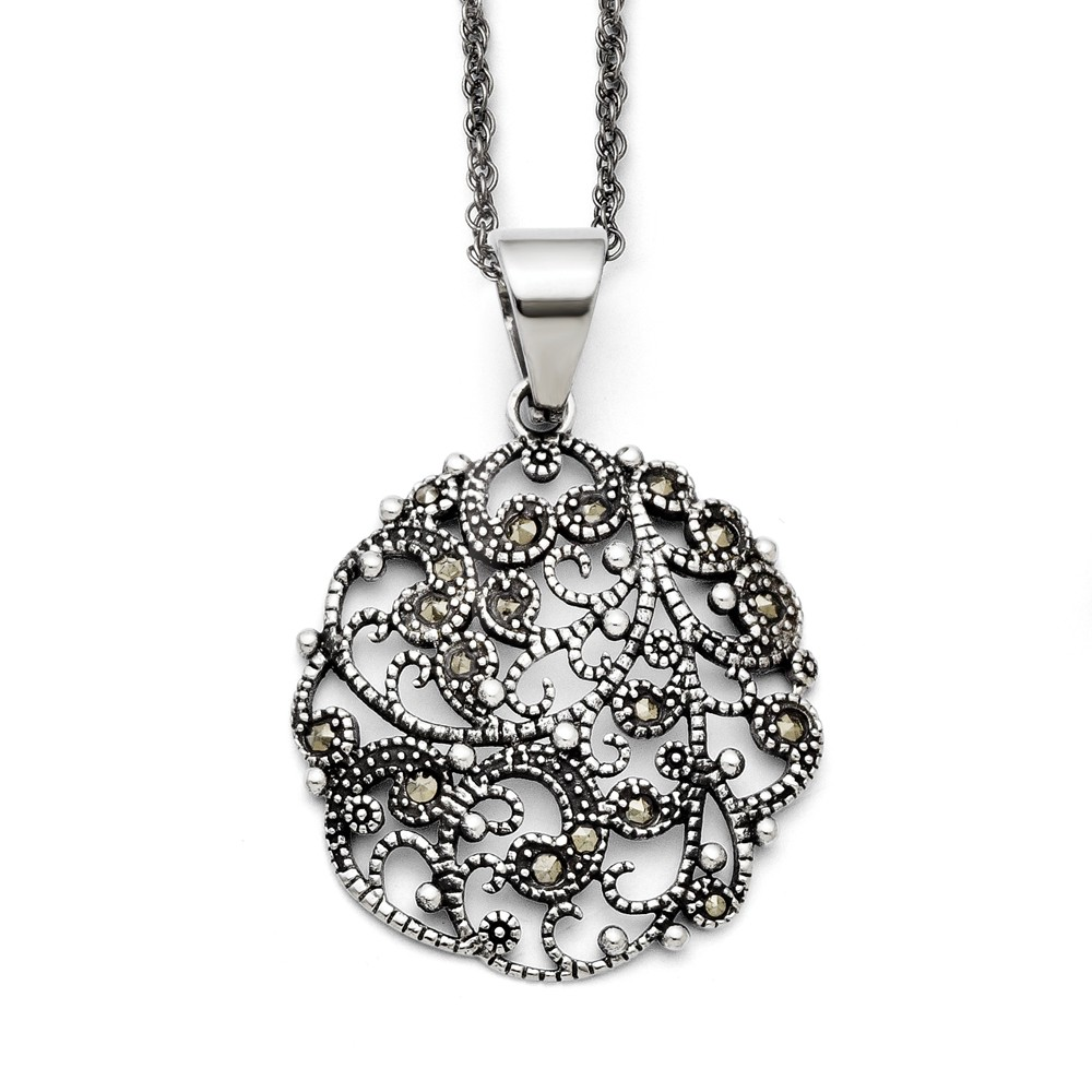 Stainless Steel 20in Marcasite Textured Circle Necklace