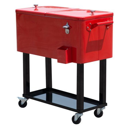 Outsunny 80 qt. Rolling Ice Chest Portable Patio Party Drink Cooler Cart