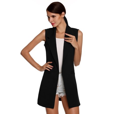 Christmas Clearance!!  Stylish Ladies Women Casual Sleeveless Lapel Pocket Solid Vest Coat Long Jacket Waistcoat Cardigan FSBR