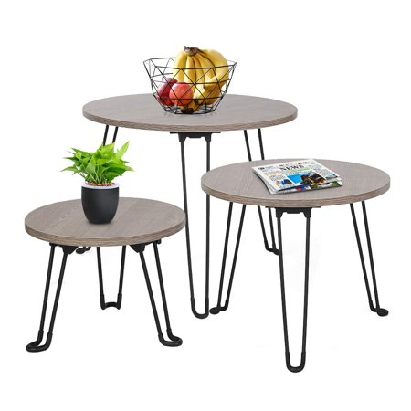 Yosoo Foldable Round Coffee Table Modern Wood End Side Desk Wood With Metal legs,Nightstand Decor for Living Room Kids' Bedroom Home Office ()