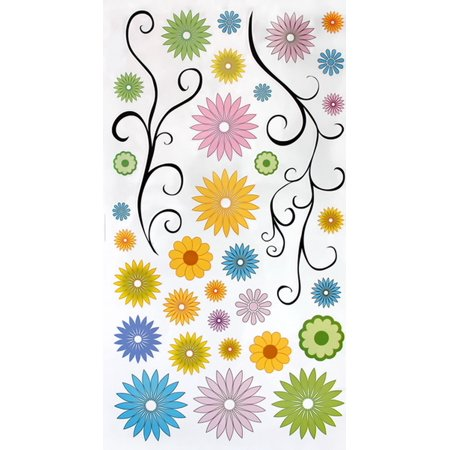 Flower Decor-5 - Wall Decals Stickers Appliques Home