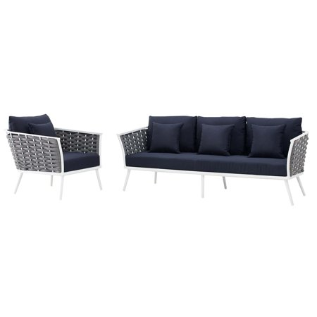 Modern Contemporary Urban Design Outdoor Patio Balcony Garden Furniture Lounge Chair and Sofa Set, Fabric Aluminium, White Navy