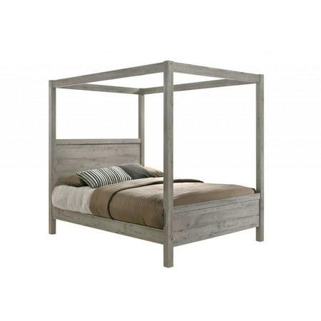 Manhattan Canopy Bed, King, Light Gray Wood, Modern (Headboard, Footboard, Rails & 4 Slats) ()
