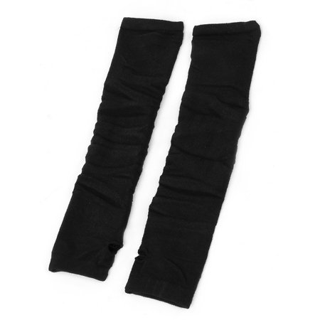 Unique Bargains Women's Fingerless Knitted Sleeve Stretchy Arm Warmers Long Gloves Pair Black](Black Arm Warmers)