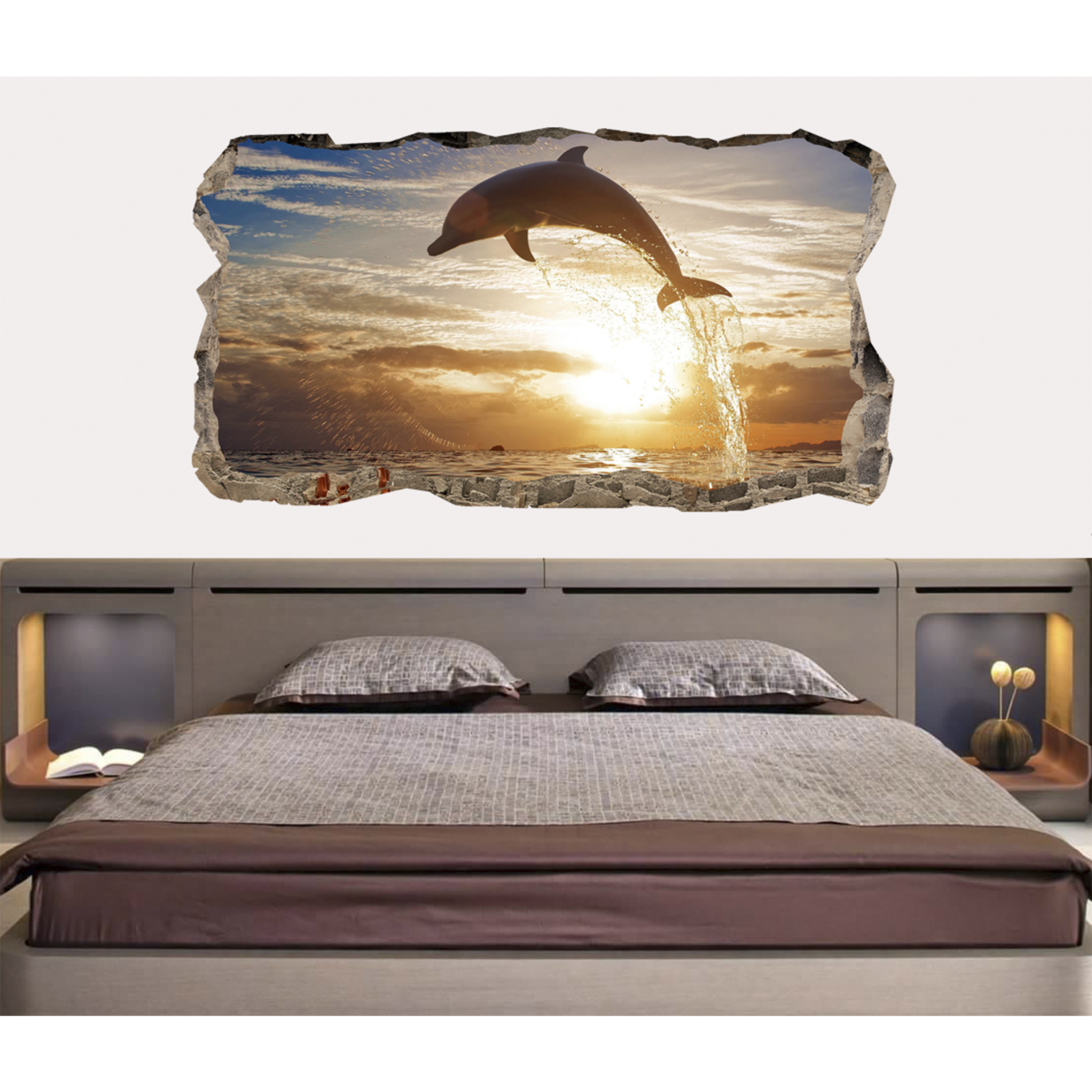 Startonight 3D Mural Wall Art Photo Decor Dolphin Amazing Dual View Surprise Wall Mural Wallpaper for Bedroom Beach Wall Paper Art Gift Large 47.24 '' By 86.61 ''