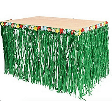 Luau Grass Table Skirt with Hibiscus Flowers