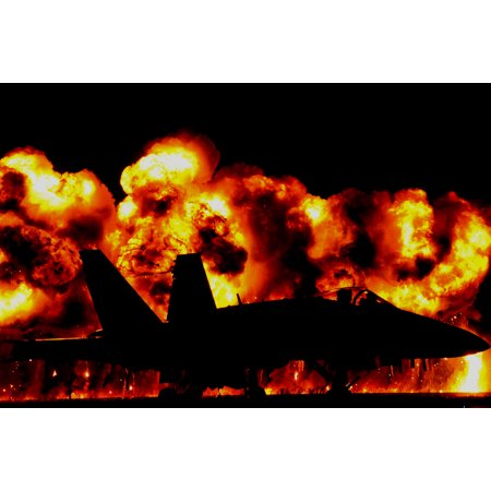 The Wall of Fire is an eye catching display at the 2016 MCAS Cherry Point Air Show ̢Celebrating 75 Poster Print 24 x