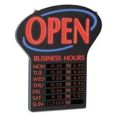 LED Open Sign w/Digital Business Hours, 20 1/2 x 1 1/4 x 23 1/2, Black/Red/Blue](Sign For Open)