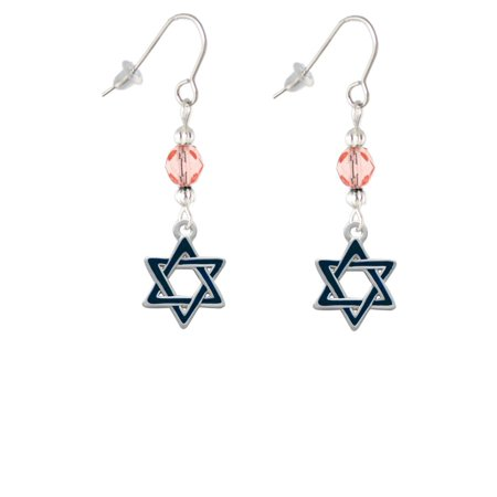 Blue Star Of David Pink Bead French Earrings