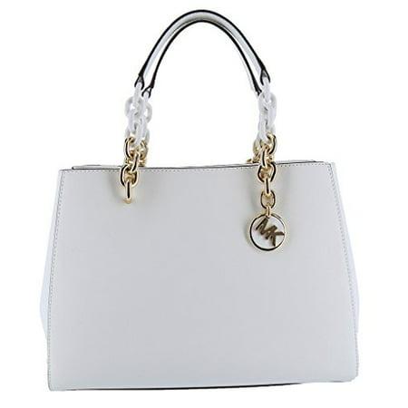 Michael Michael Kors Cynthia Medium White Saffiano Leather Satchel Bag