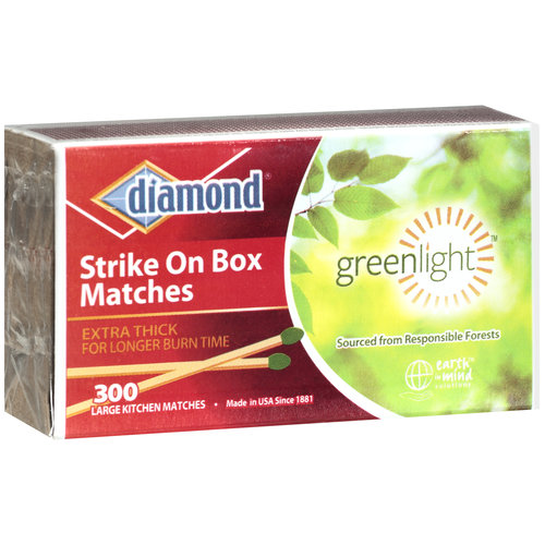 Diamond Greenlight Strike On Box Kitchen Matches, Large, 300ct