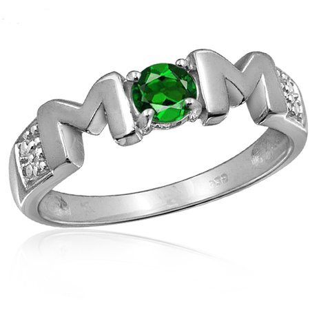 JewelersClub 0.27 Carat T.G.W. Chrome Diopside Gemstone and White Diamond Accent Sterling Silver Mother Ring