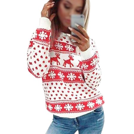 Women Long Sleeve Elk Snowflake Sweater Christmas Jumper Pullover Tops Outwear Xmas Novelty Blouse Casual Loose (Snowflake Pullover Sweater)