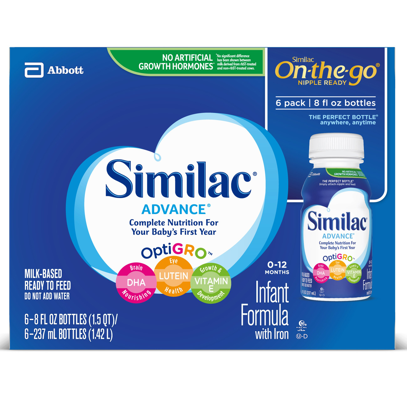 Similac Advance Infant Formula with Iron, Ready to Feed, 8 fl oz (Pack of 6)