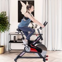Indoor Exercise Bike, Indoor Cycling Bike with LCD Monitor&Seat, Wheels, 330 Lbs Weight Capacity, Adjustable Foot Fitness Equipment, Exercise Equipment for Gym Home Workout, Black, W10534