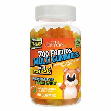 21St Century Zoo Friends Childrens Multivitamin Supplement Plus Extra C Multi Gummies - 60 Ea