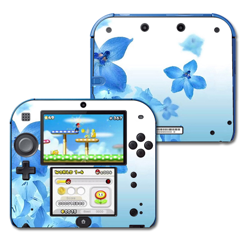 Mightyskins Protective Vinyl Skin Decal Cover for Nintendo 2DS wrap sticker skins Blue Flowers