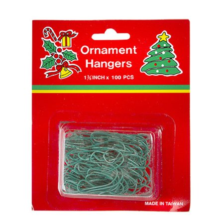 Green Christmas Tree Ornament Hanger Hooks Pack of 100