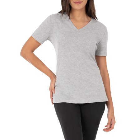 9594c2cf Time and Tru - Time and Tru Women's Essential Short Sleeve V-Neck T-Shirt -  Walmart.com