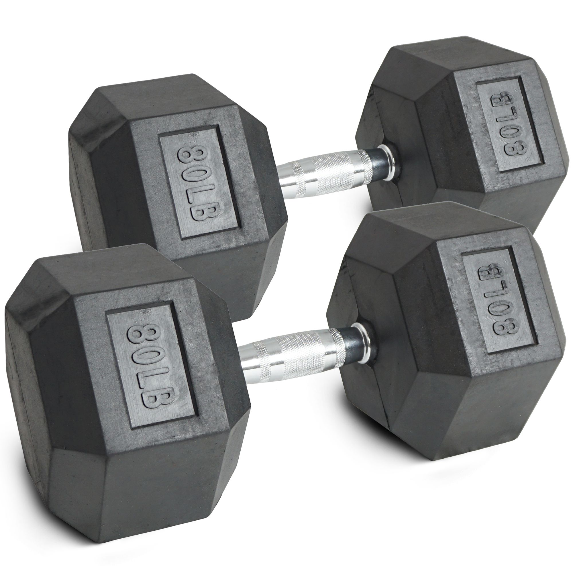 Pair 80 lb Black Rubber Coated Hex Dumbbells Weight Training Set 160 lb Fitness by Titan Fitness