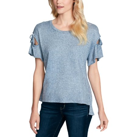 Jessica Simpson Womens Cut-Out Shoulder Tie Casual Top