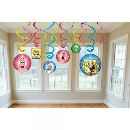Amscan Silly Sponge Bob Party Foil Swirl Decorations