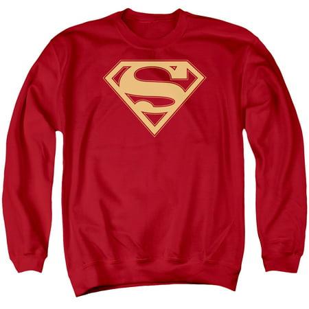Superman DC Comics Red & Gold Shield Adult Crewneck -