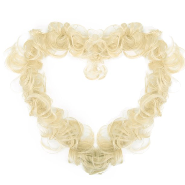 Bleach Blonde Hair Extensions Wedding Elastic Band Curly Updo
