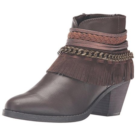 Womens Tumble Faux Leather Frayed Ankle Boots ()