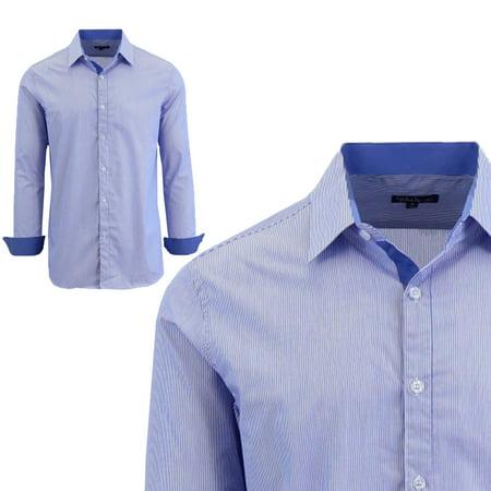 Pinstripe Italian (Men's Long Sleeve Pinstripe Slim Fit Shirts )