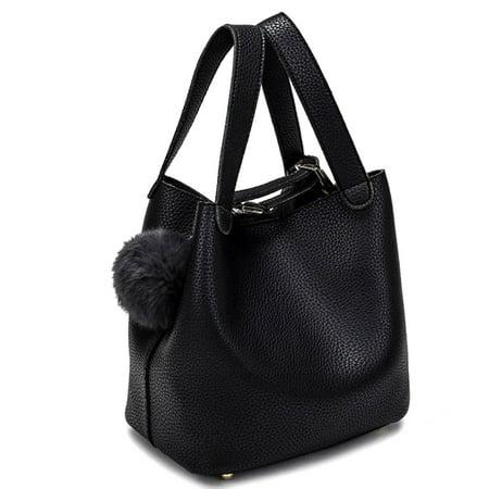 Korean Style Large Capacity Bucket Bag Women Fashion Handbag Shoulder Bag (Belted Bucket Handbag)