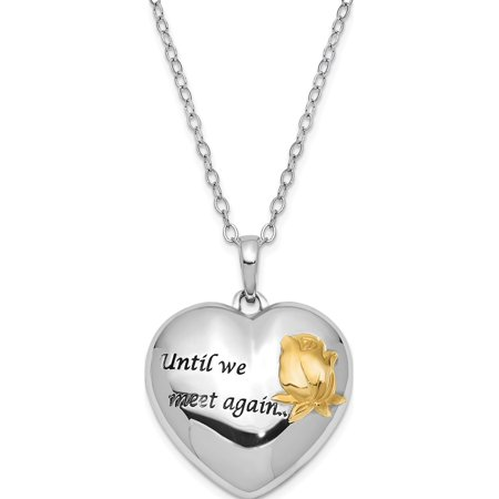 Sterling Silver Antiqued Gold-tone Accent Until We Meet Again 18in. Necklac