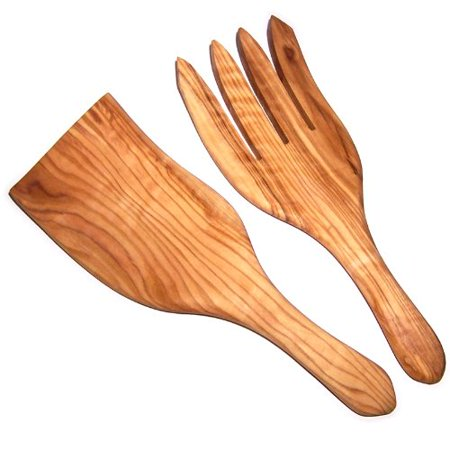 Olive Wood Handcrafted Wide Spaghetti / Salad Server Set ( 8.5 Inch long each ) - Asfour Outlet Trademark - Halloween Spaghetti Salad