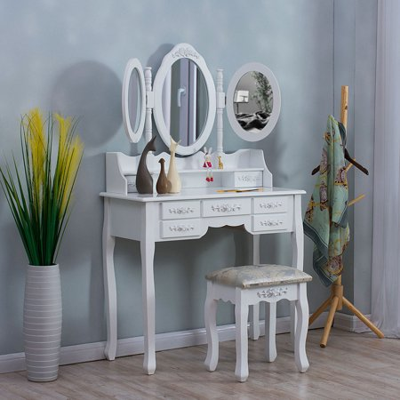 Surprising Wooden Vanity Table Makeup Dresser Set Tri Folding Round Mirror Dressing Table With 7 Drawers And Padded Stool Pabps2019 Chair Design Images Pabps2019Com