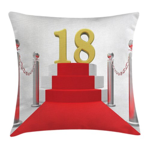 Ambesonne Birthday Teen Hollywood Greet Square Pillow Cover