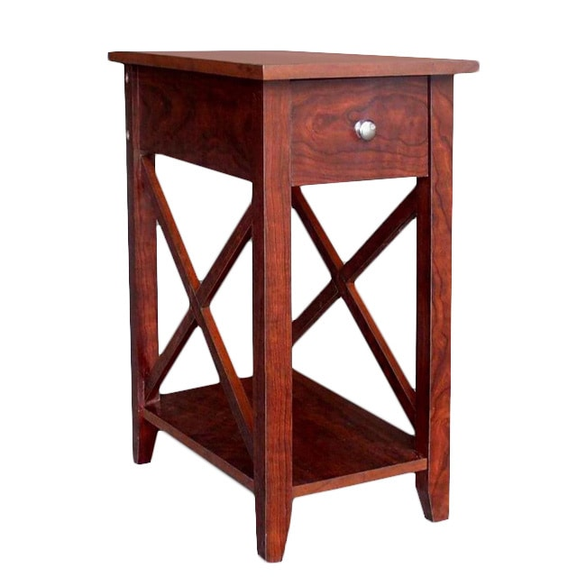 OH Espresso Wooden X-side End Table
