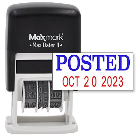 Maxmark Self Inking Rubber Date Office Stamp With Posted Phrase Blue Ink   Date Red Ink  Max Dater Ii   12 Year Band