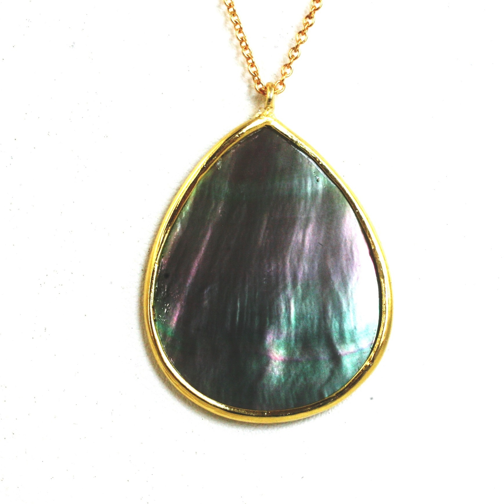 """Zirconmania - Elegant Large Pear 2-Tone Shimmering Abalone Pendant On 30"""" Sterling Silver Vermeil Fine Chain"""