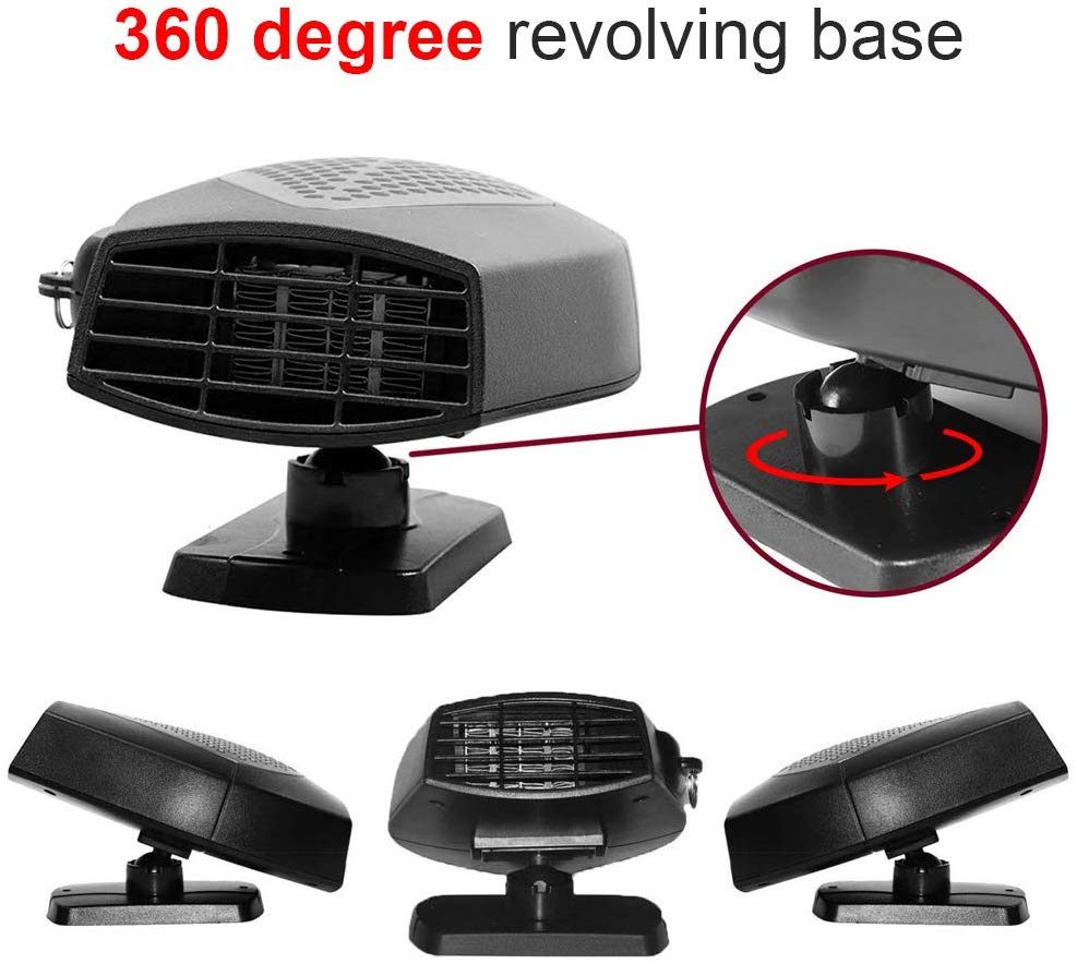 Portable Car Heater Fan 12V Windshield Heater Car Defogger Defroster Plug in Cigarette Lighter 12 Volt 150W Auto Ceramic Heater Cooling Fan Fast Heating