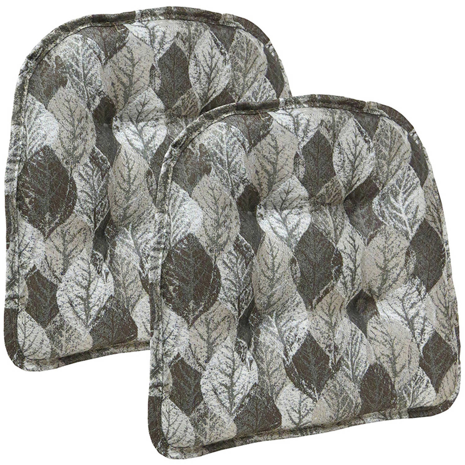 "Gripper Non-Slip 15"" x 16"" Overture Metallic Leaves Tufted Chair Cushions, Set of 2"