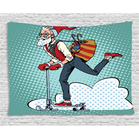 Indie Tapestry, Pop Art Scenery with Hipster Santa Claus on Scooter with Gift Bag Christmas Theme, Wall Hanging for Bedroom Living Room Dorm Decor, 60W X 40L Inches, Teal Red Blue, by